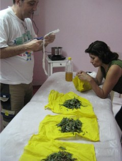 Ayurveda Massage Course India - Preparing bolus bags
