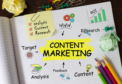 Notebook With Tolls And Notes About Content Marketing