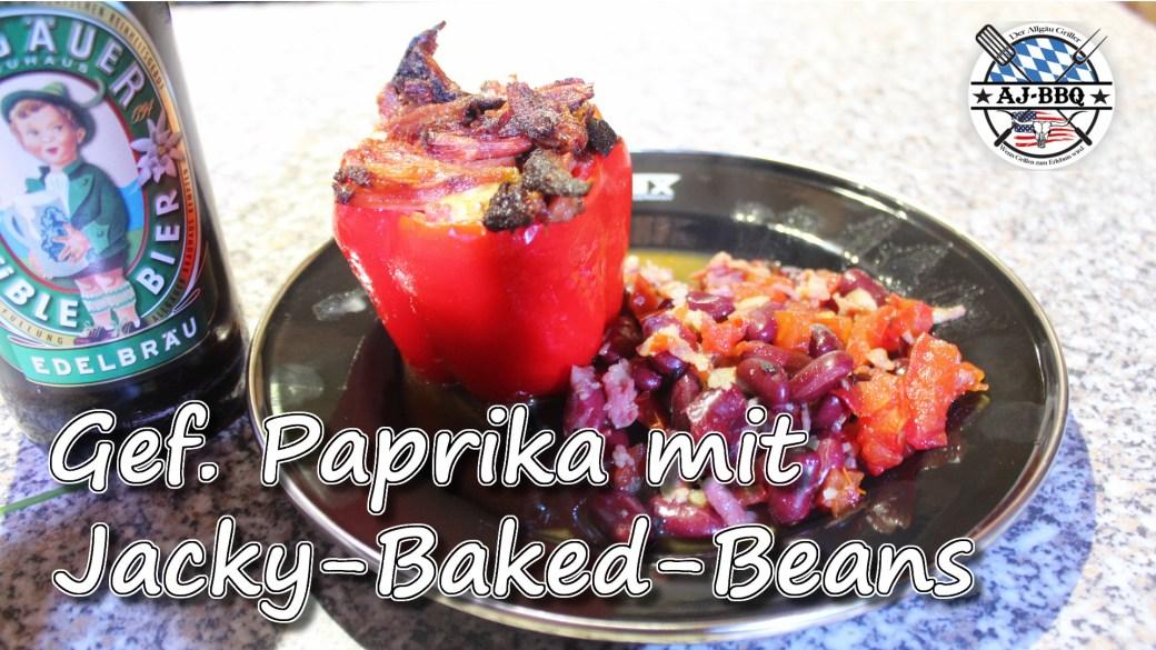 Gefüllte Pulled Pork Paprika mit baked Beans