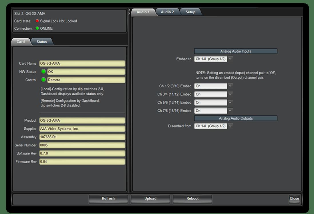AJA OG-3G-AMA 3G-SDI Analog Audio Embedder