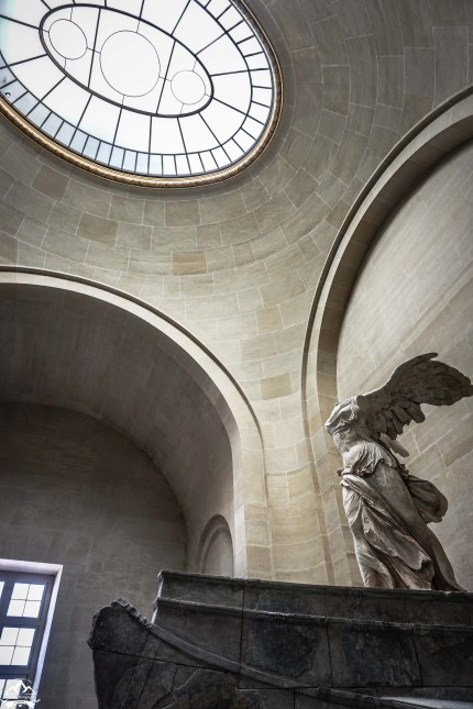 The Winged Victory of Samothrace is a 2,200 year old marble sculpture of the Greek goddess Nike (Victory). Since 1884, it has been one of the showcase displayed at the Louvre. Since September, a team of eight archaeologists have been working on the cleaning and restoration of the statue. It went back on display only two week before we arrived. It is a remarkable piece! Viewing it, you can almost feel the wind that sweeps the gown back on it.