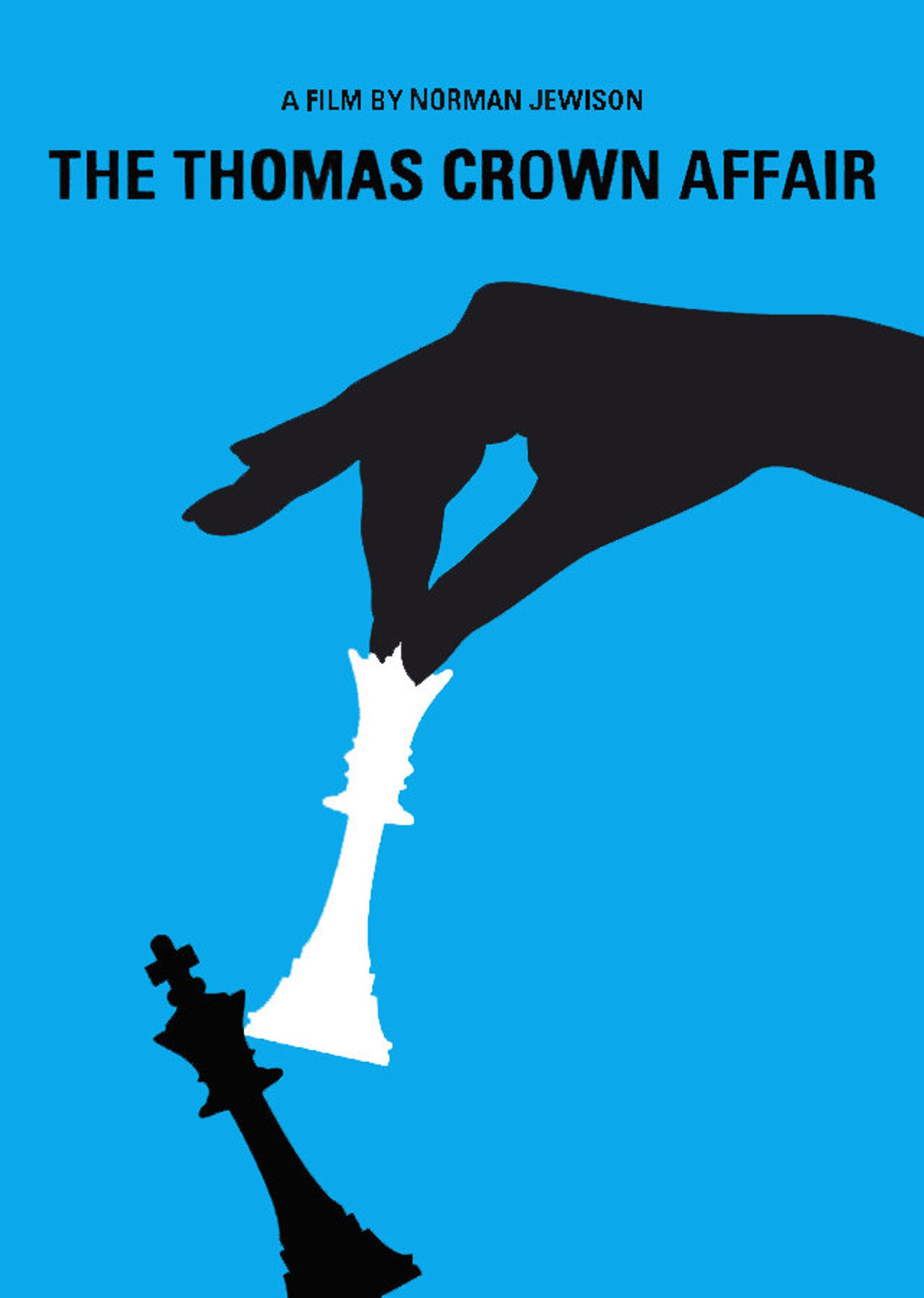 Thomas Crown Affair poster, lady hand with white queen tipping black king