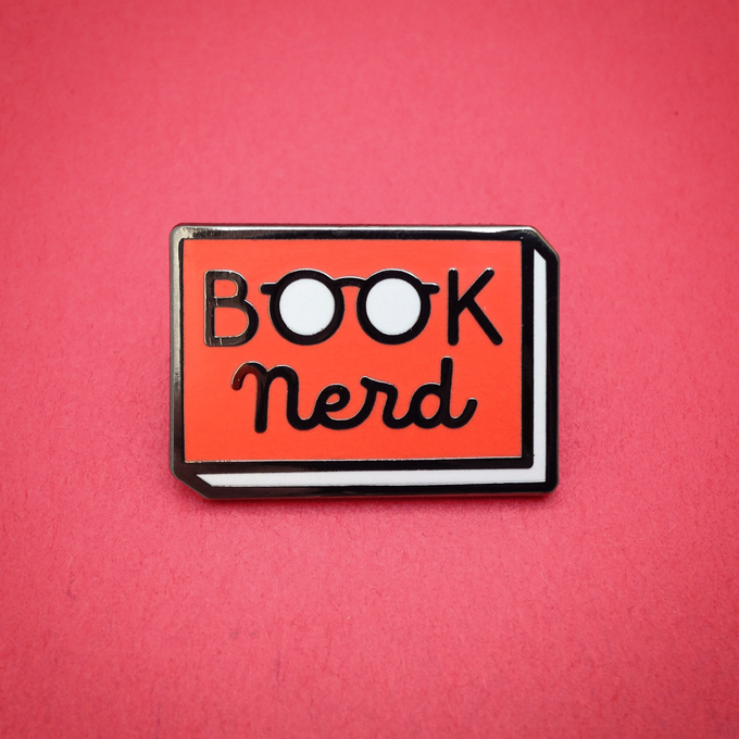 book nerd pin