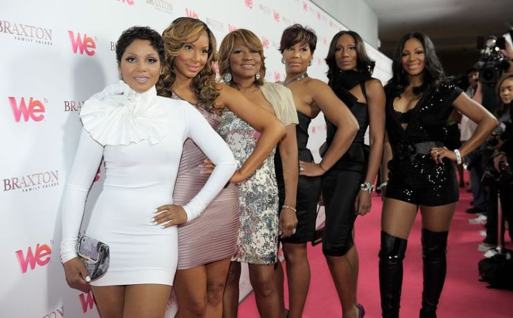 """From left, singer Toni Braxton, Tamar Braxton, Evelyn Braxton, Traci Braxton, Towanda Braxton and Trina Braxton arrive at the celebration for the new WE tv series """"Braxton Family Values"""" at The London Hotel in West Hollywood, California. Tamar reportedly attempted suicide Thursday night. (Photo by Charley Gallay/For WE tv)"""