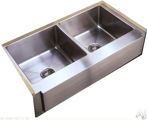 empire industries 42 inch apron front double bowl stainless steel sink