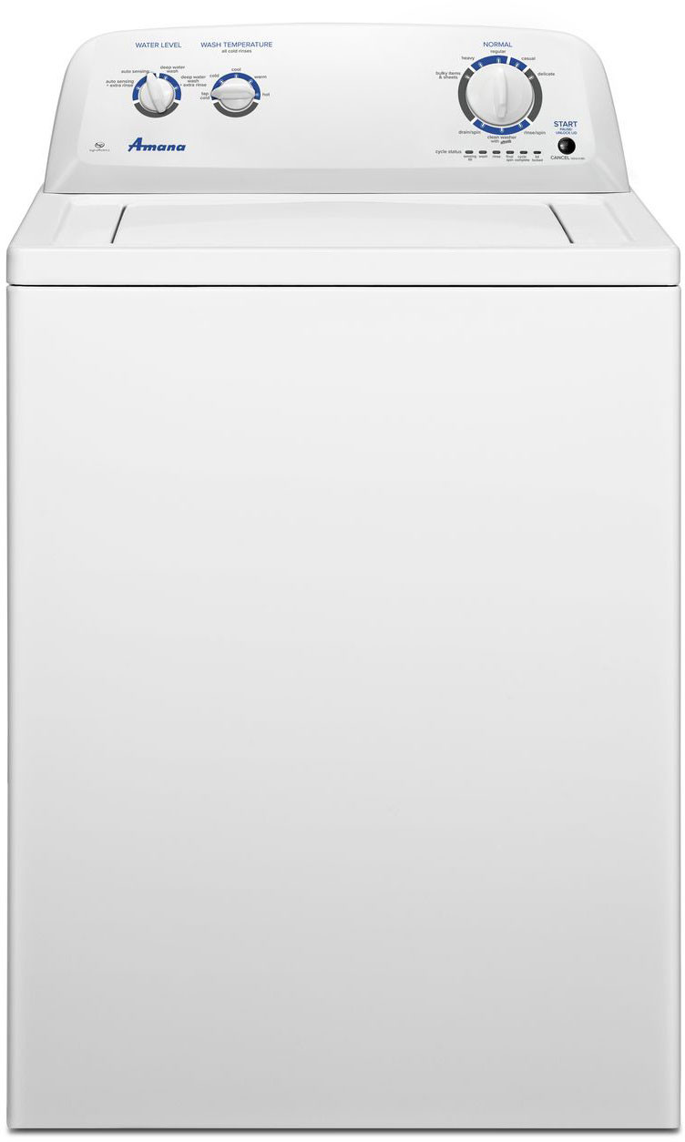 Amana Ntw4516fw 27 5 Inch Top Load Washer With 3 5 Cu Ft Capacity 8 Wash Cycles Dual Action Agitator Porcelain Tub Late Lock Lid And Deep Water Wash Option