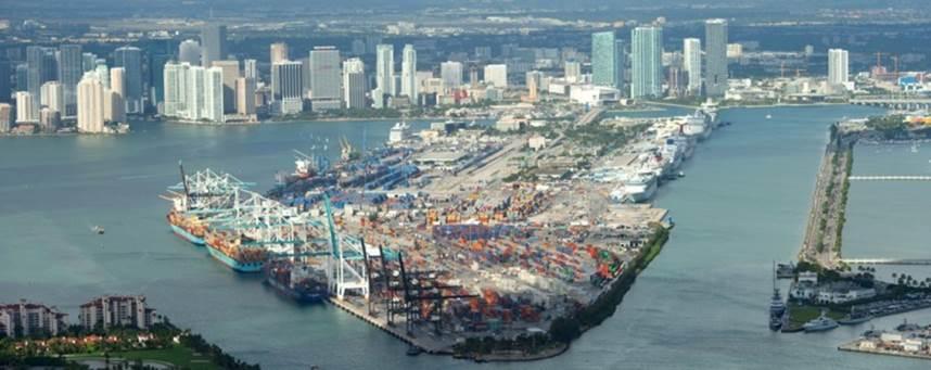 Aerial view of PortMiami