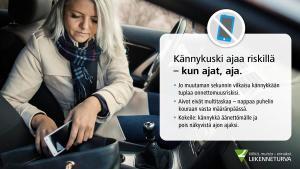 Toisen tienkäyttäjän kännykän käyttö liikenteessä monen vaaratilanteen takana