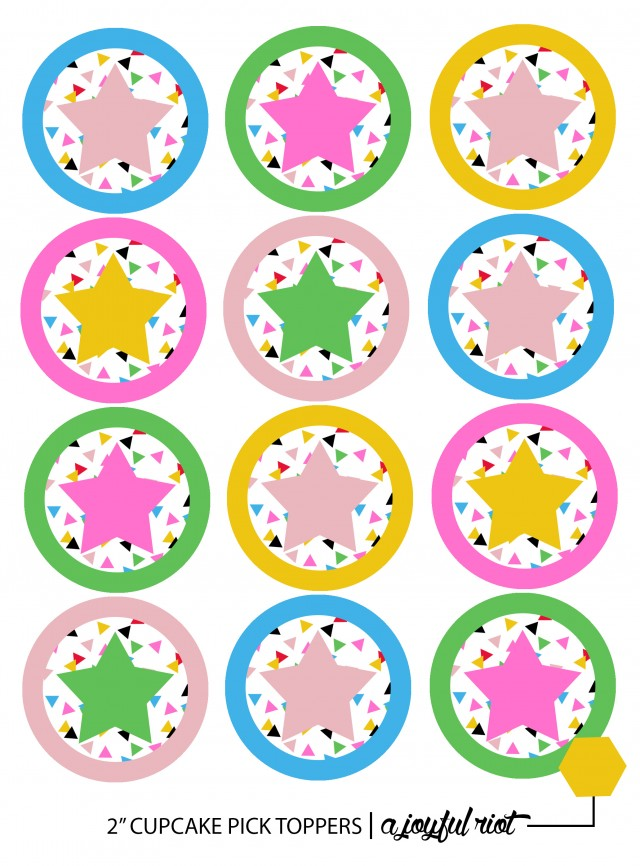 photo relating to Printable Cupcake titled Free of charge Printable Star Cupcake Toppers A Pleased Insurrection