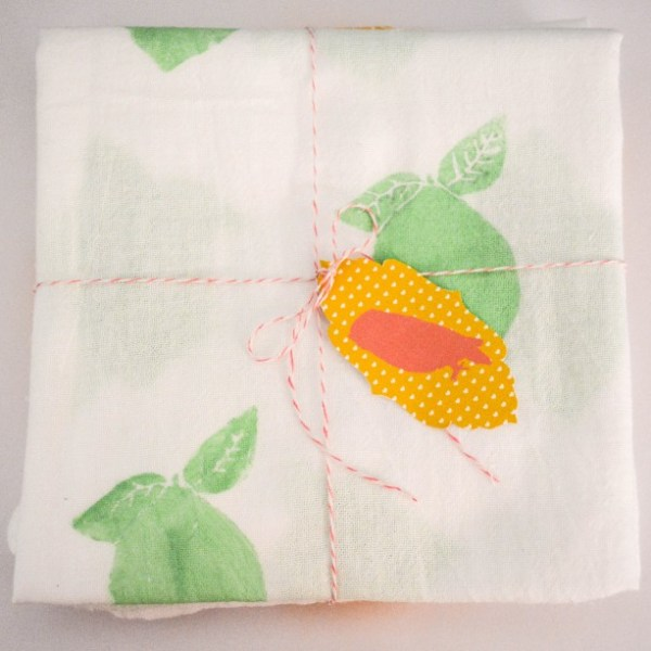 Stamped Fruit Tea Towels