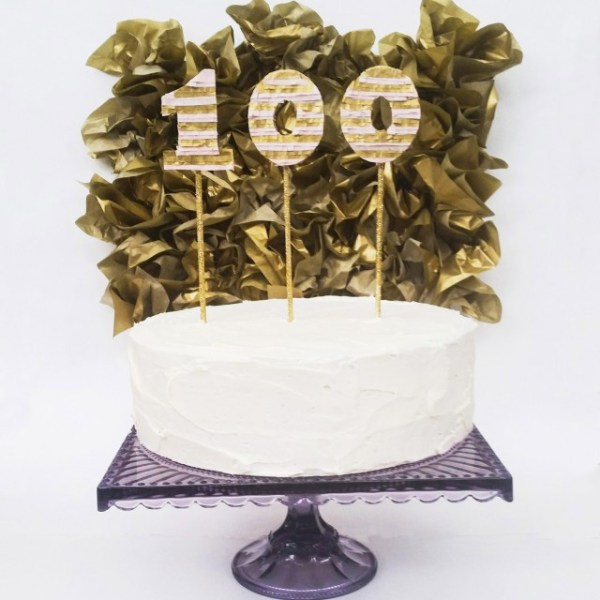 100th Post | Pinata Number Toppers on Glitter Sticks