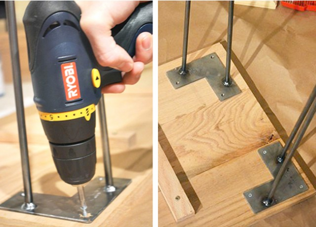 Attach the hairpin legs at each corner of the board using screws.  step4_hairpinentrywaytable