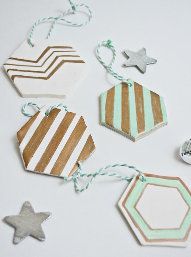 DIY Hexagon Clay Christmas Ornaments |A Joyful Riot @ajoyfulriot