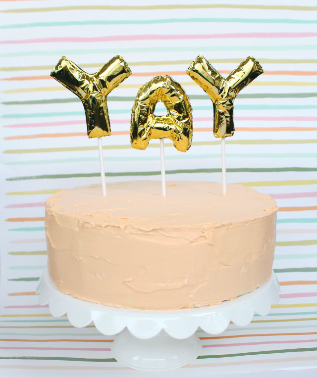 DIY Mini Foil Letter Balloon Cake Toppers