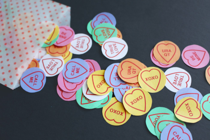 Free Printable conversation heart confetti for your Valentine's parties, photos and  Valentine's! A Joyful Riot