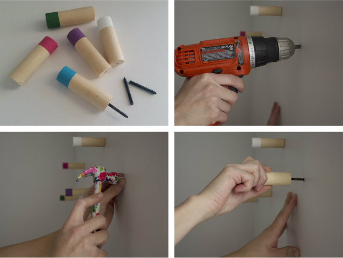 DIY colorful wood wall hooks. Simple, modern and cute | A Joyful Riot