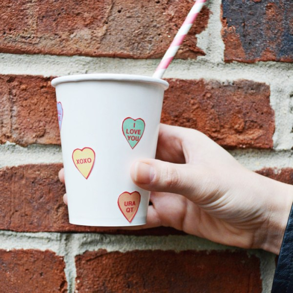 Conversation Heart Paper Cups