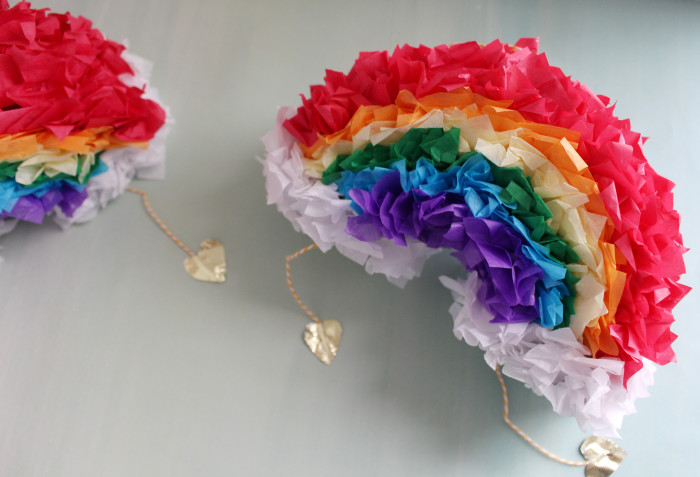 Mini rainbow pinatas for your St Patrick's day! Fill With gold things and find the gold at the end of the rainbow | A Joyful Riot