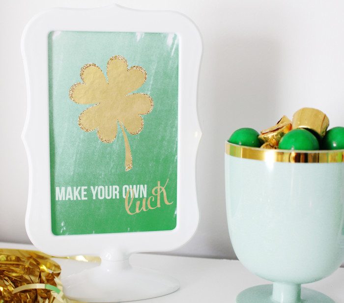 Make your own luck print in three sizes. Free lucky printable for St. Patrick's Day | A Joyful Riot