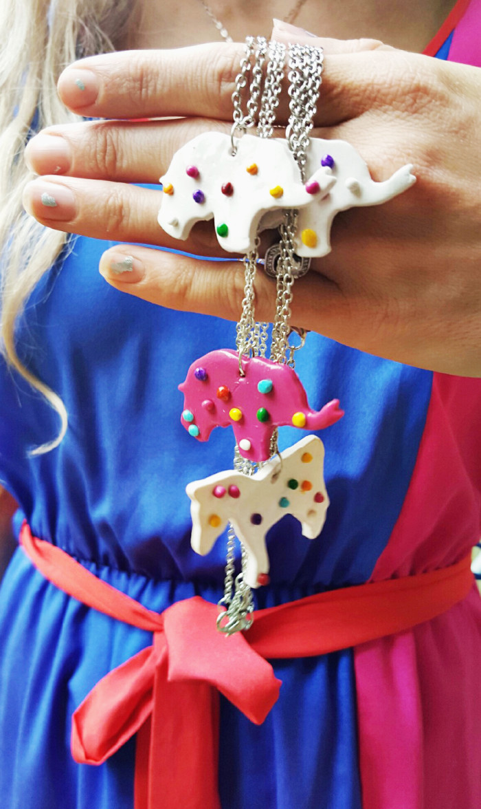 DIY simple clay circus animal cookie necklace charms from A Joyful Riot