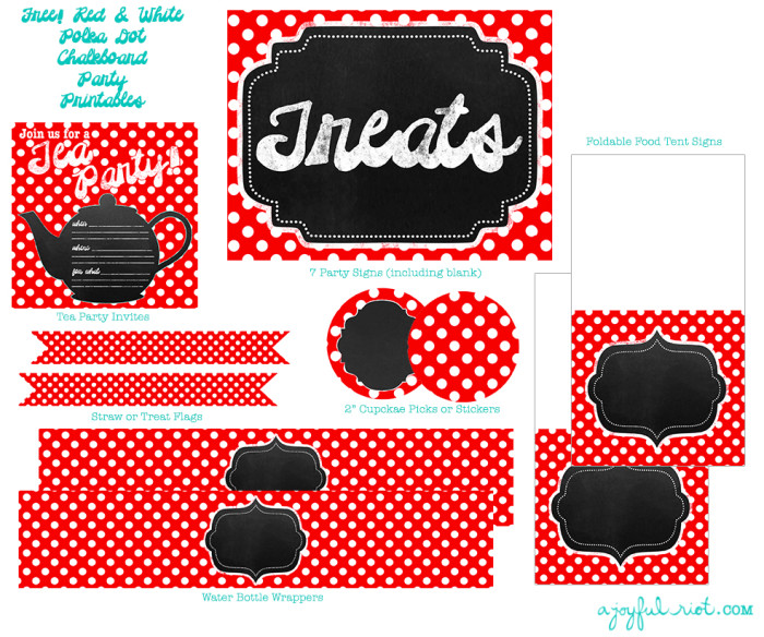 Red and White Polka Dot Chalkboard Party Printable Pack from A Joyful Riot