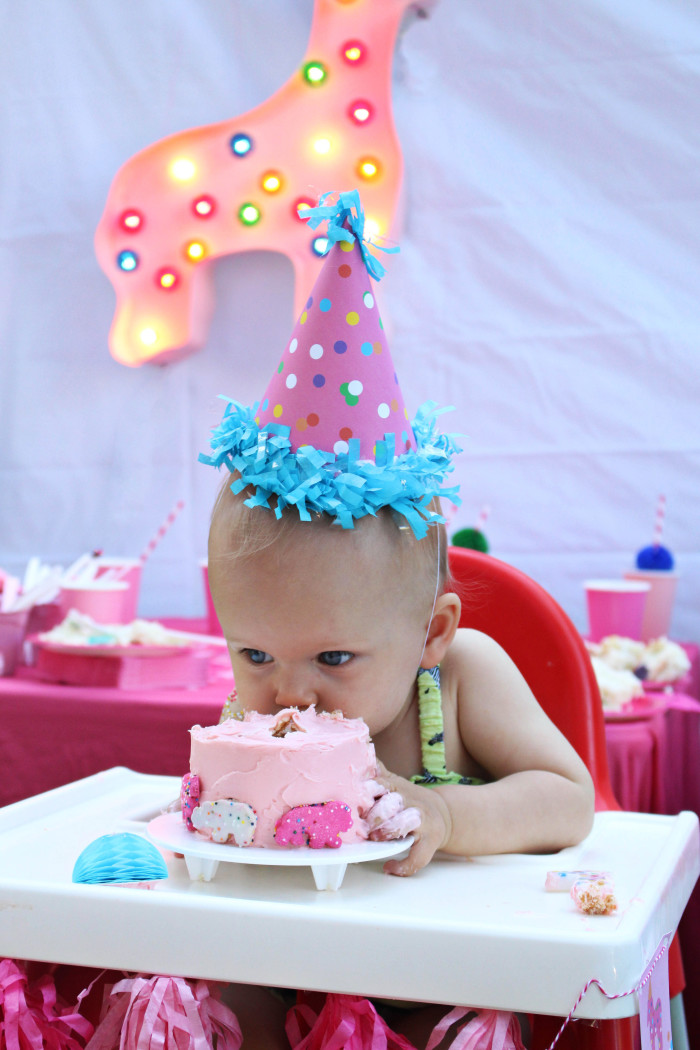 Pink and Polka Dot Circus Animal Cookie First Birthday Party via A Joyful Riot