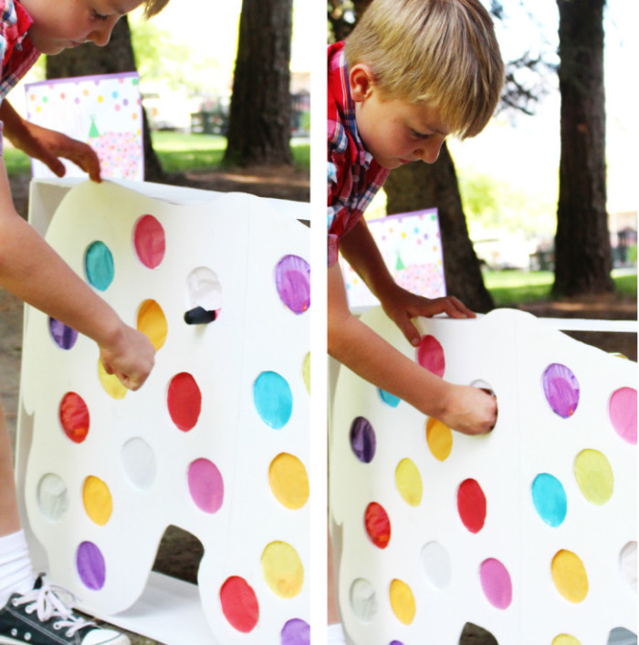 Make a circus animal cookie punch game with this free template for a rhino. Perfect for a carnival party! | A Joyful Riot