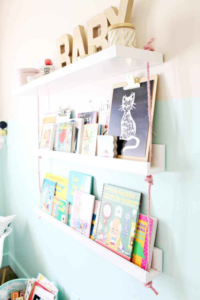 DIY faux hanging rope bookshelves perfect for a nursery or children's room | A Joyful Riot