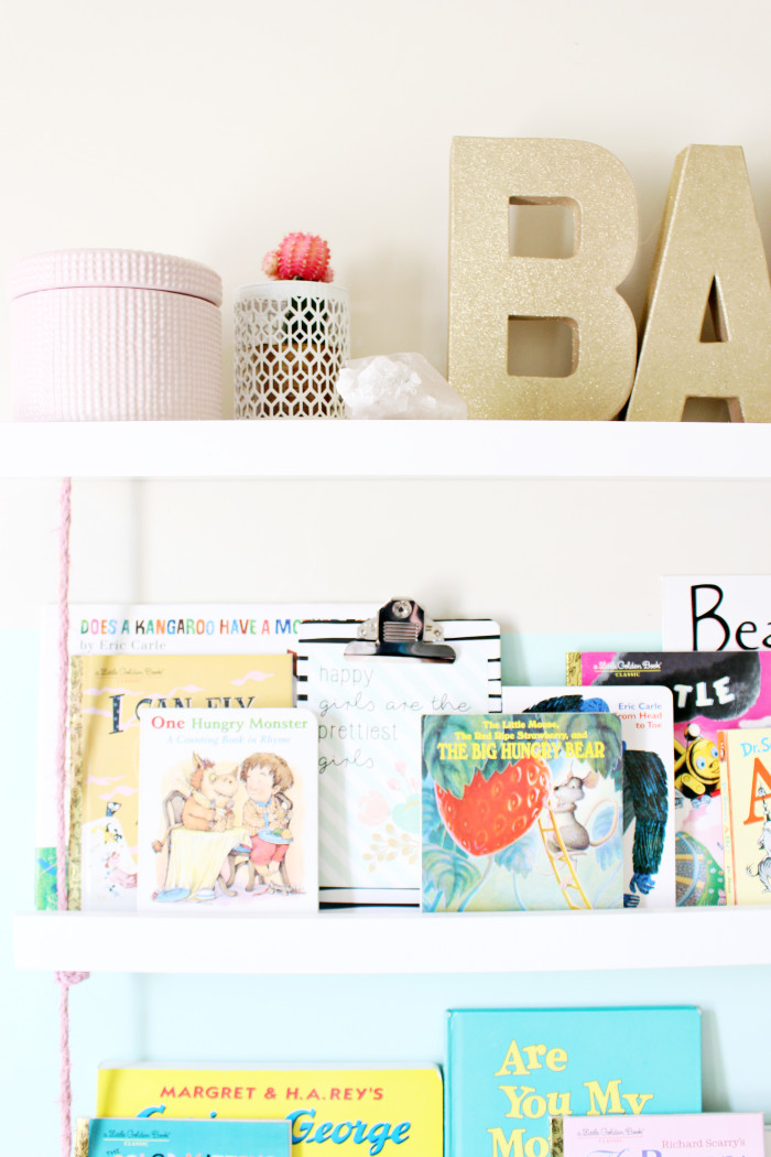 DIY faux hanging rope bookshelves perfect for a nursery or children's room   A Joyful Riot