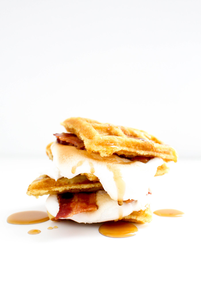 Breakfast waffle, maple, bacon s'more |6 unique, colorful and delicious ways to make a s'more | A Joyful Riot-9