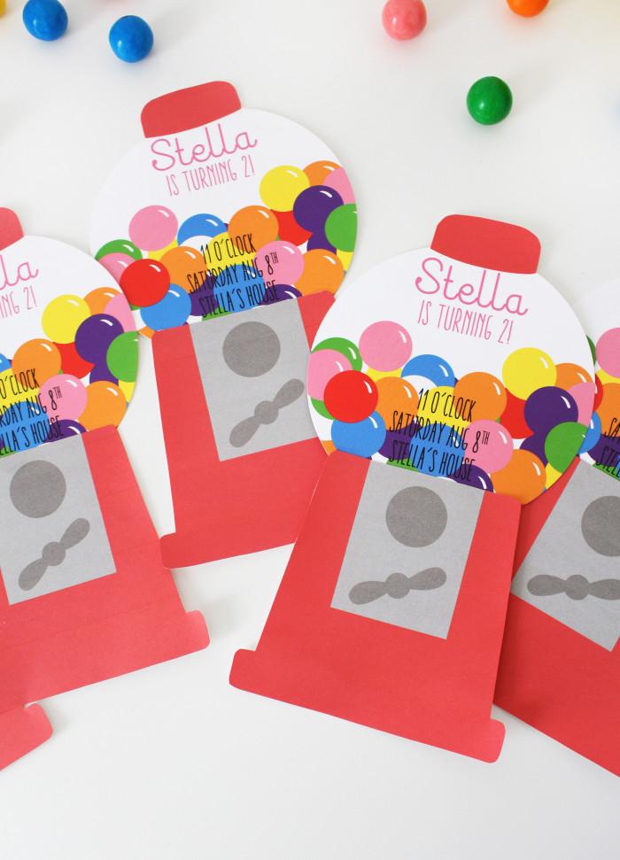 Free Printable Gumball Machine Birthday Party Invitations   A Joyful Riot