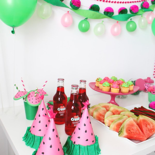 Watermelon Free Printable Party Hats and Straw Umbrellas