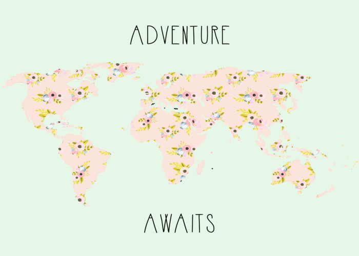 "floral ""adventure awaits"" map free print in two styles and sizes from ajoyfulriot.com"