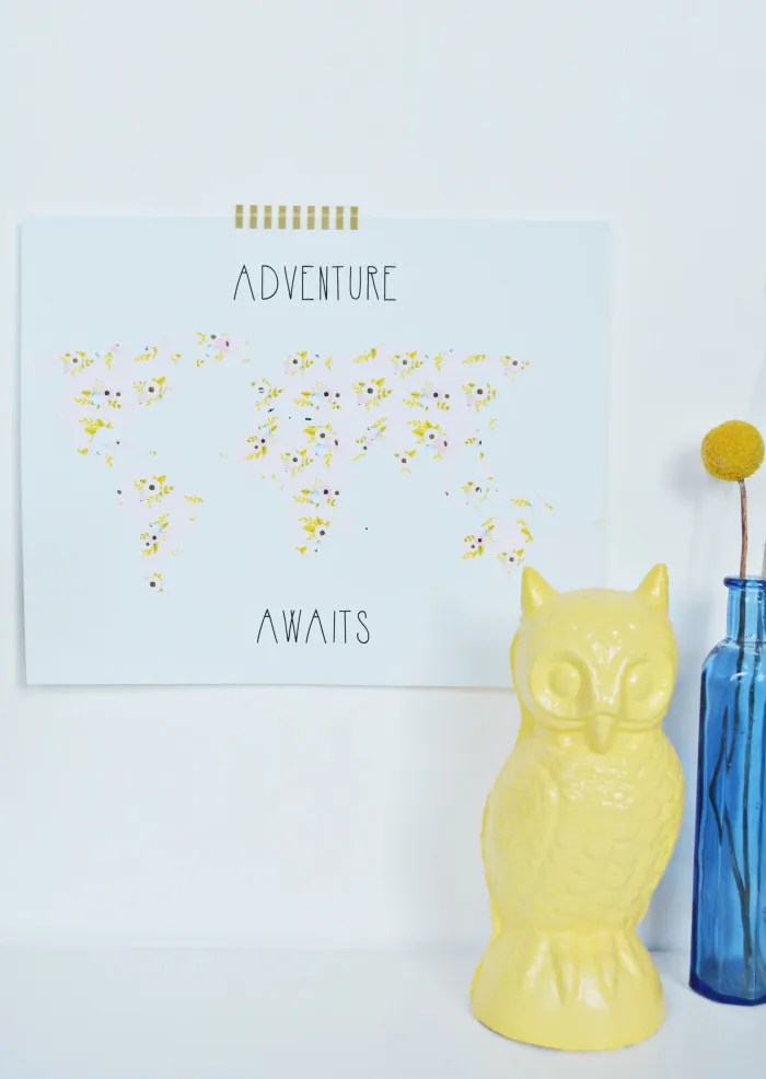 "Free printable floral map ""adventure awaits"" in two styles and three sizes!"