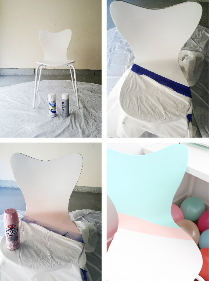 DIY colorblocked office chair in mint and pink | A Joyful Riot