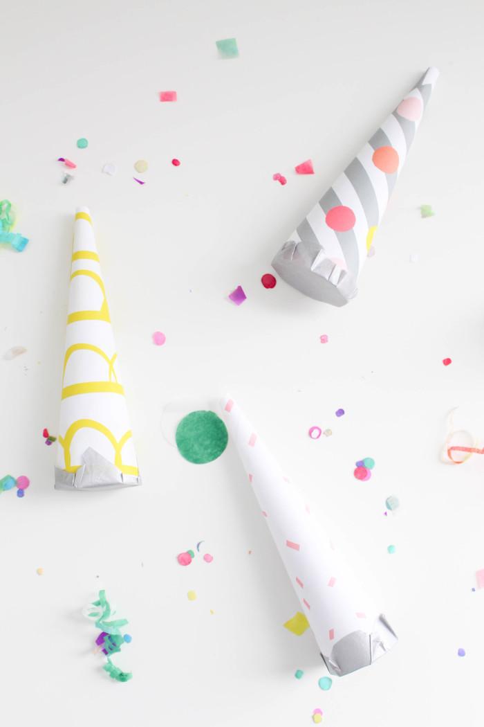 DIY confetti blowers with a free celebration paper pack (confetti, glitter, scallops!) ajoyfulriot.com @ajoyfulriot