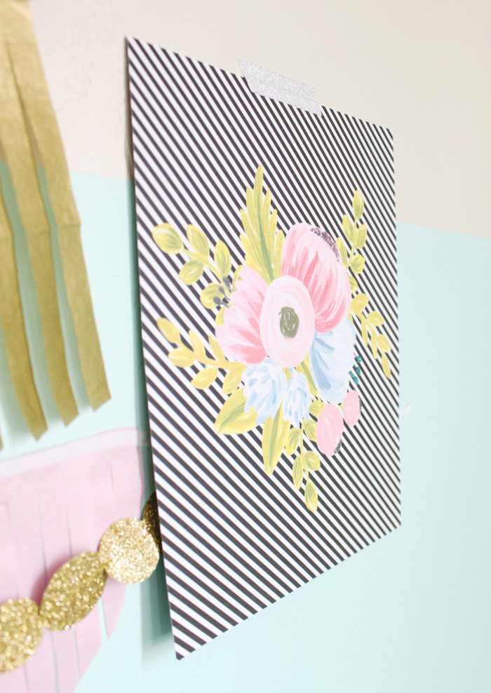 Free printable vintage floral bouquet on a black and white stripe background   A Joyful Riot