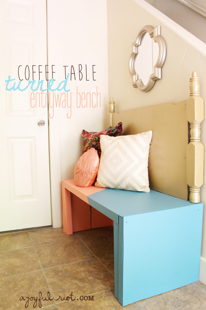 DIY coffee table turned entryway bench with colorblocked paint ajoyfulriot.com