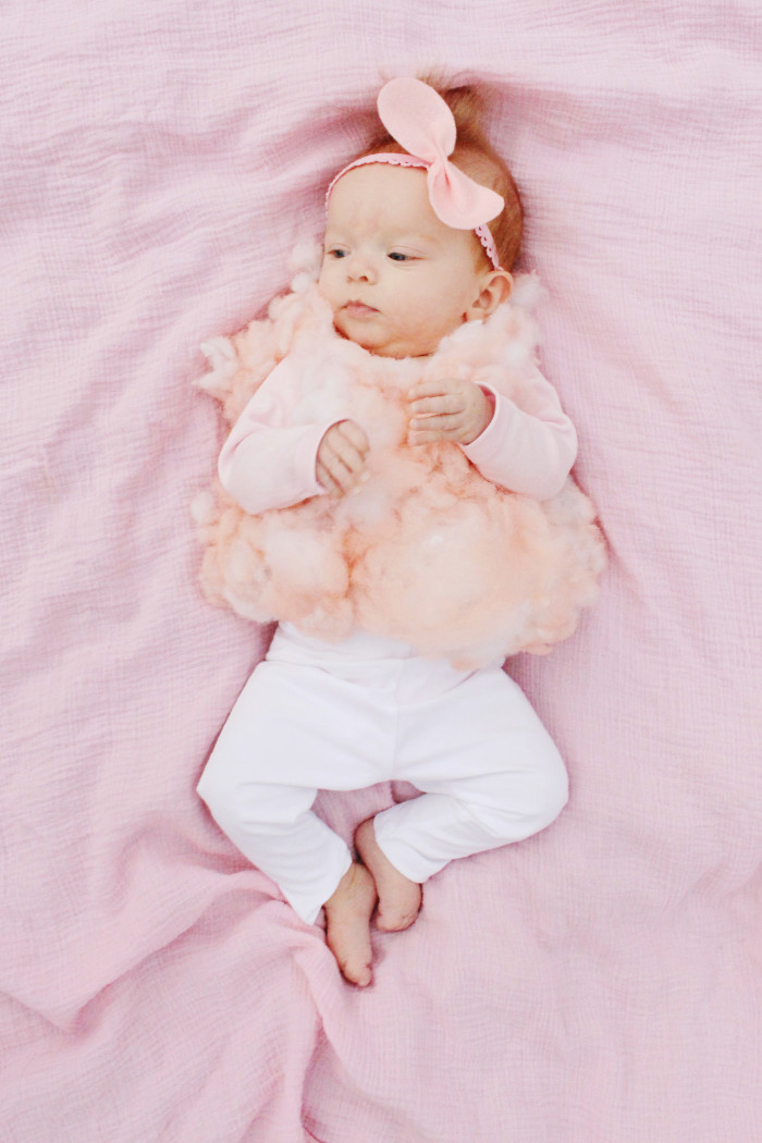DIY baby cotton candy costume for the sweetest first Halloween ever ajoyfulriot.com @ajoyfulriot 7