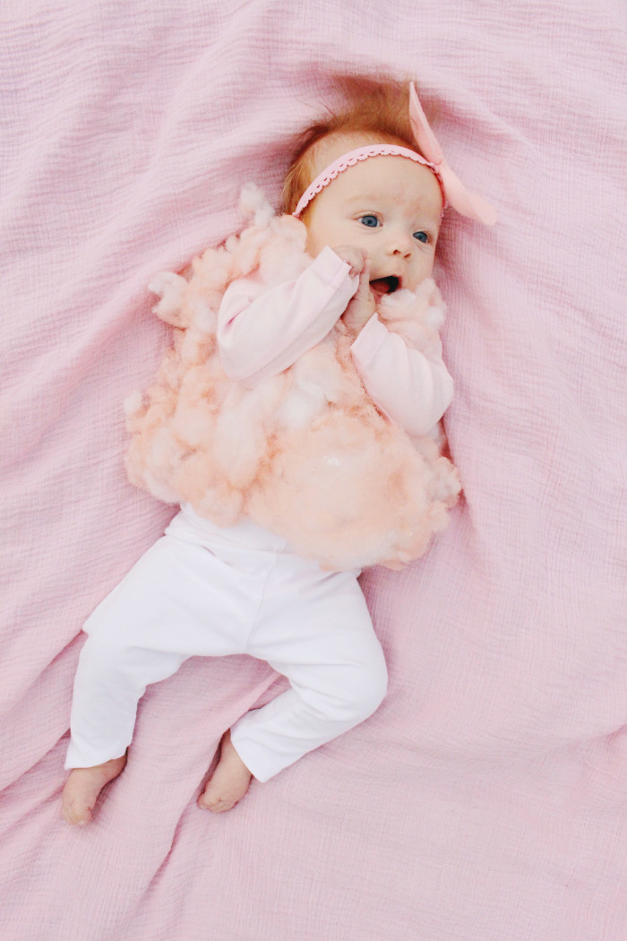 DIY baby cotton candy costume for the sweetest first Halloween ever ajoyfulriot.com @ajoyfulriot