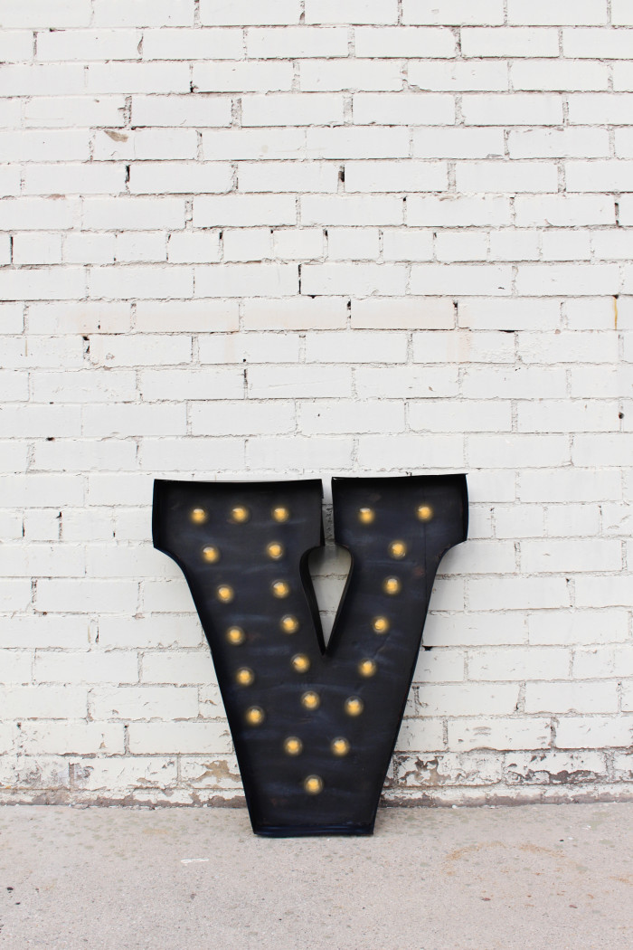 Paint paper to get a faux vintage metal patina and make an industrial marquee light ajoyfulriot.com @ajoyfulriot