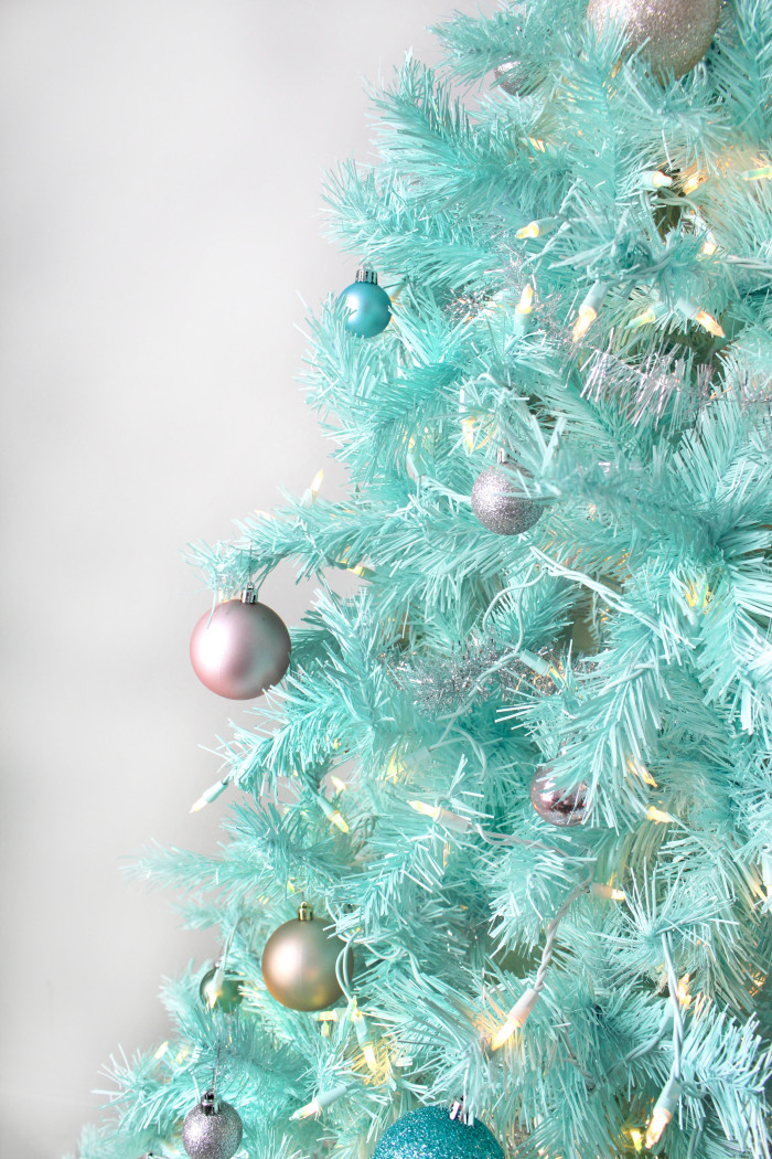 DIY Mint Green Christmas Tree {Spray Painted Tree} | A Joyful Riot