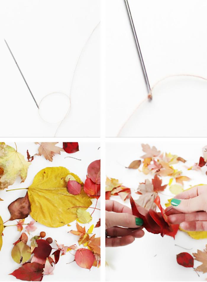 diy leaf garlands to hang from geronimo balloons. A pretty, autumn twist on the usual tassels! ajoyfulriot.com @ajoyfulriot
