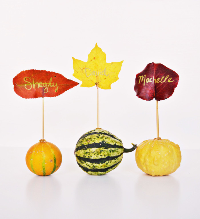 DIY Mini Gourd and Leaf Place Cards @ajoyfulriot
