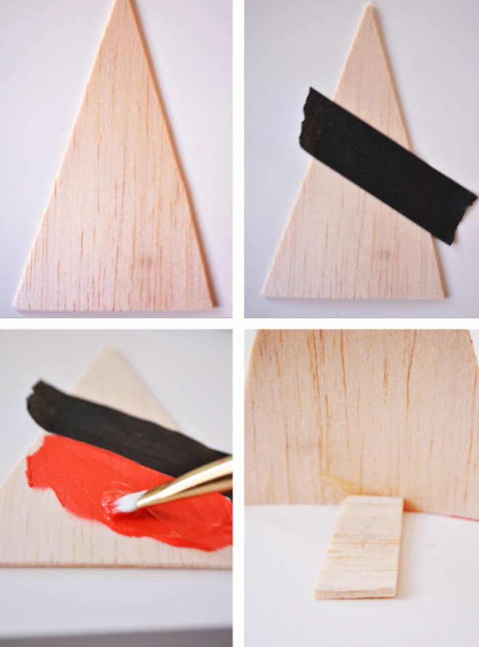 diy color blocked wood christmas tree forest ajoyfulriot.com @ajoyfulriot