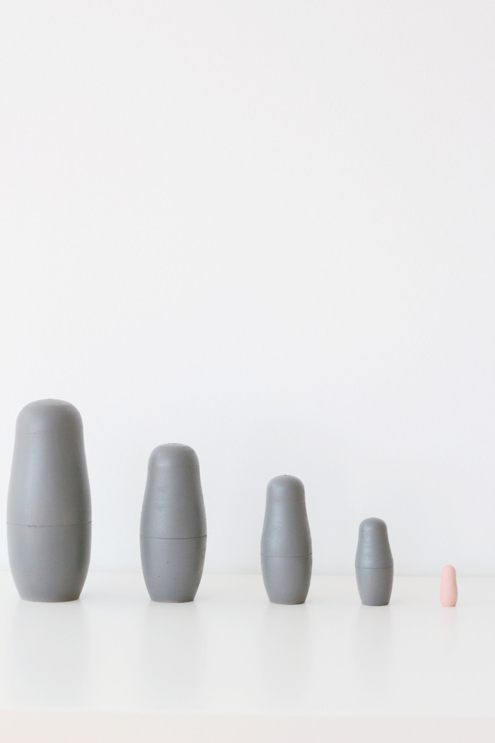 DIY gender reveal nesting dolls. Minimal decor for your parties and house via ajoyfulriot.com @ajoyfulriot