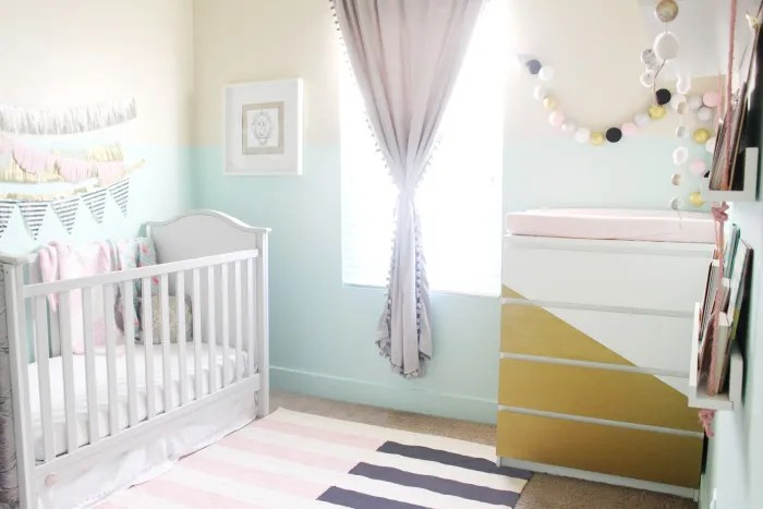 mint, pink, black, gold and silver nursery 22