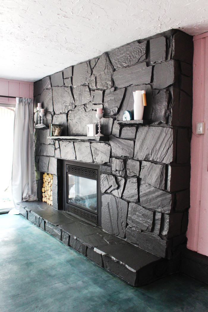 How to paint a rock fireplace. Really easy! ajoyfulriot.com @ajoyfulriot