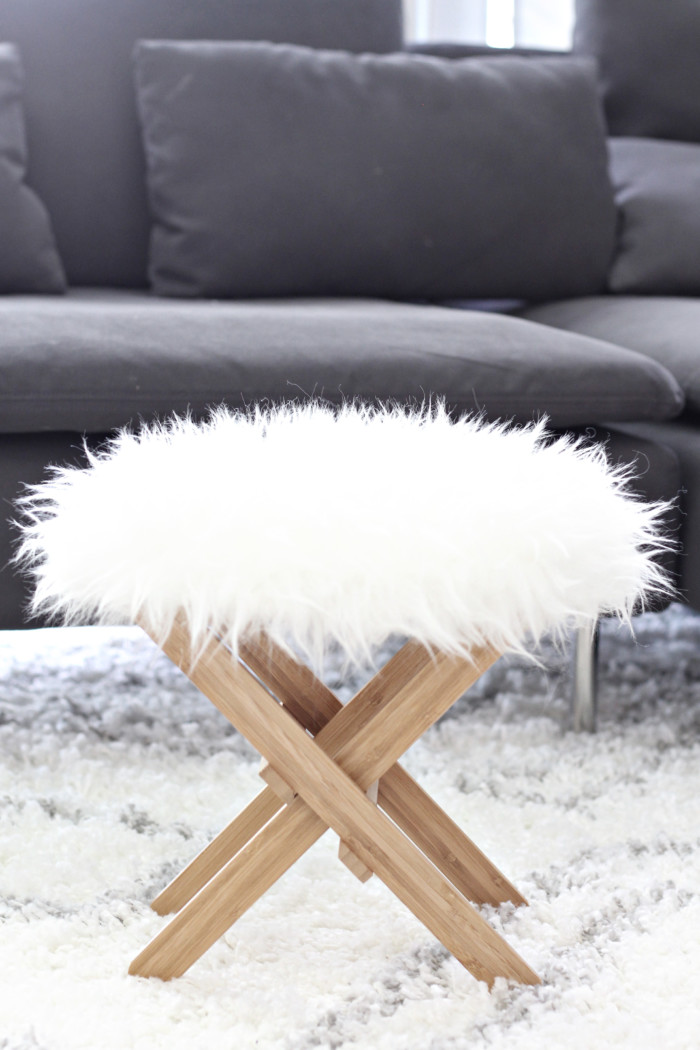 Ikea hack furry foot stool ottoman 1