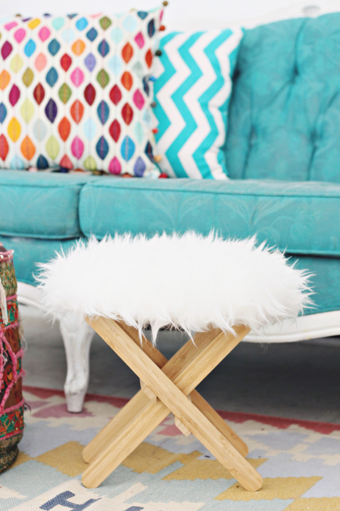 Ikea hack furry foot stool ottoman 3